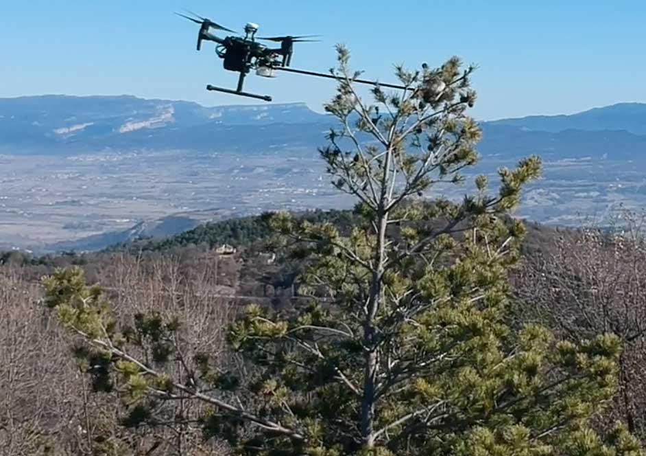 Drone realizando un tratamiento de control de la procesionaria del pino