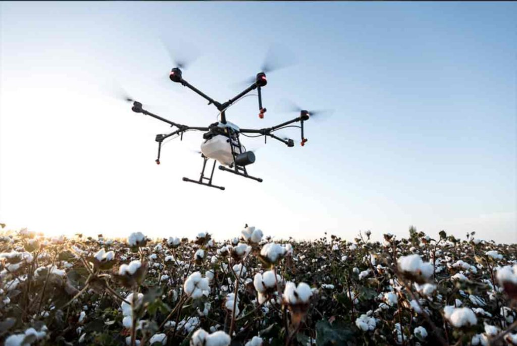 FitoAgro drone treating agricultural pests in cotton field